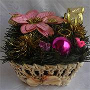 Декоративная корзинка из соломы Лоза и Керамика розово-золотистая