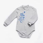 Боди для новорожденного с длинным рукавом интерлок унисекс Модный карапуз 301-00015 Серое