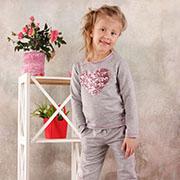 Брюки для девочки спортивные Модный карапуз 03-00570 Серый меланж