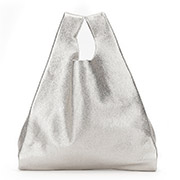 Кожаная сумка POOLPARTY Tote leather tote silver
