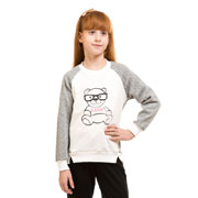 Кофта Мишка в очках Kids Couture молочная
