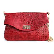 Кожаная сумочка-клатч Poolparty Red crocodile clutch с цепочкой