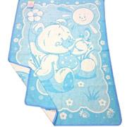 Детское двухстороннее одеяло Влади Мишка жаккардовое голубое