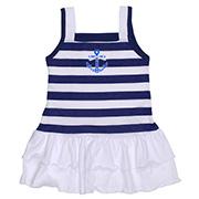 Платье для девочки Татошка белый с синим в полоску