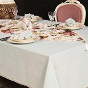 Набор льняной скатерть с настольником и салфетками Maser Home Collection голубой