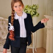 Жакет для девочки синий Милана ЖД-02122 с манжетами