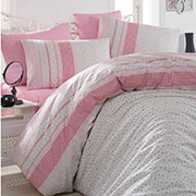 Комплект постельного белья Arya Defne ранфорс розовый
