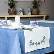 Дорожка Гармония мод.60 Колокольчик с голубым бантом белый лен