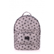 Рюкзак стеганый Poolparty Backpack snowflakes grey