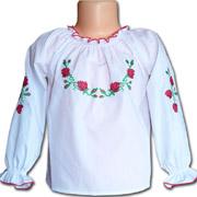 Вышитая сорочка для девочек Bimbissimi ВСД-022 с красной вышивкой
