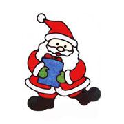 Наклейка с глиттером Дед мороз с коробкой подарков