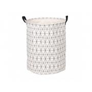 Корзина для белья круглая тканевая МД 40х50 см белый меланж