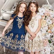 Платья нарядные для девочки Catmiko kids бежевое и синее