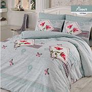 Комплект постельного белья Arya Flower ранфорс голубой