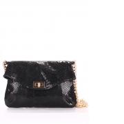 Кожаная сумочка-клатч Poolparty black snake clutch с цепочкой