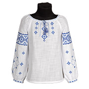 Вышиванка для девочки Ровенщина Гармония сине-голубая