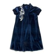Платье нарядное бархатное Модный карапуз 03-00547 темно-синее
