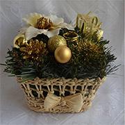 Декоративная корзинка из соломы Лоза и Керамика золото-молочный