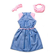 Платье с бантиком летнее для девочки Модный карапуз 03-00493 хлопок сине-розовое