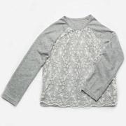 Реглан для девочки с гипюром Модный Карапуз 03-00619 серый
