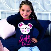 Пижама для девочек Elitol темно-синяя с голубыми штанами 19192 милый мышонок 59c5b60234f97