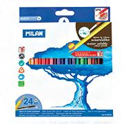 Карандаши цветные акварельные Milan, 24шт, с кисточкой