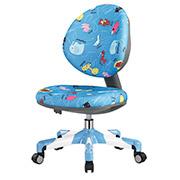 Кресло с белым металлическим основанием Y-120 BN обивка голубая со зверятами Mealux