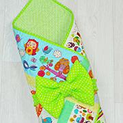 Конверт-одеяло для новорожденных на выписку Loskutini с конопляным наполнителем Сказочные животные