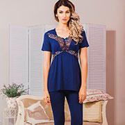 Пижама Violet delux П-М-42 синяя