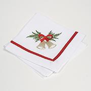 Комплект салфеток Гармония Колокольчик с красным бантом мод.1 белый лен