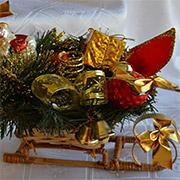 Декоративные сани Лоза и Керамика золотисто-красные