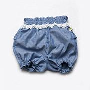 Шорты-панталоны с кружевом для девочек Модный карапуз 03-00497 деним синий