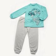 Пижама для мальчика утепленная Модный карапуз 03-00611 мятная