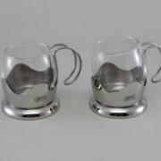 Чашки стеклянные для чая 2 шт 0,15 л (нерж.сталь) 8577