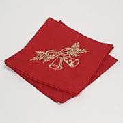 Комплект салфеток Гармония Колокольчики золотые мод.1 красный сатин