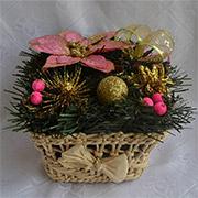 Декоративная корзинка из соломы Лоза и Керамика золото-розовый