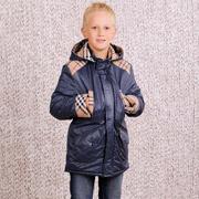 Куртка-парка для мальчика утепленная Модный карапуз 03-00450 синяя