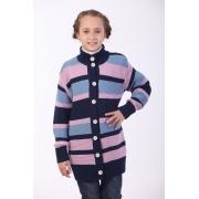 Кардиган в полоску для девочки ОТМ Дизайн сине-розовый